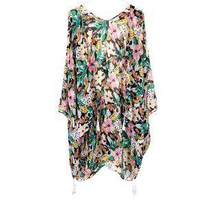 Lane Bryant Sheer Floral Tassel Kimono